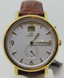 【送料無料】orologio uomo lorenz placcato oro quadrante tondo bianco day date swiss made