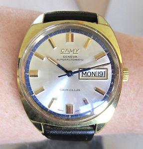 【送料無料】wow gents 1970s swiss gp camy sea club 25j auto eta2789 day date watch serviced