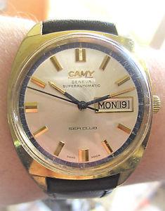 wow gents 1970s swiss gp camy sea club 25j auto eta2789 day date watch serviced