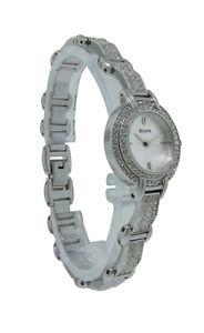 【送料無料】bulova swarovski crystal 96x002 round stainless steel silver tone analog watch