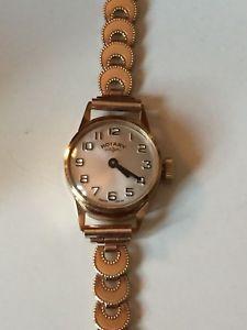 【送料無料】9ct, gold rotary ladies manual wind watch boxed amp; cert, 1438,grams, birm 1976,