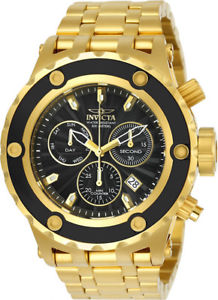 【送料無料】invicta mens subaqua quartz chrono 500m goldplated s steel watch 23921
