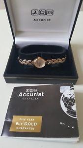 【送料無料】neues angebotladies 375 9ct gold accurist gold quartz wrist watch box amp; booklet 98g
