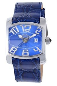 chronotech mens ct7701m03 rectangle blue leather date watch