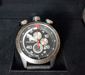 【送料無料】55 rrp 469 harding bullhead chronograph watch hs06 leather date quartz