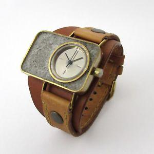 【送料無料】mason concrete rectangular watch quartz watch w leather strap created by hand