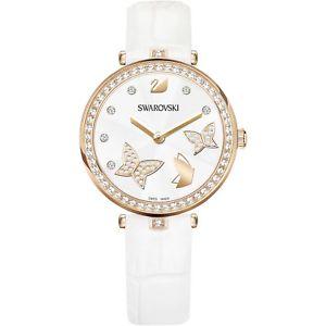 orologio swarovski aila dressy butterfly 5412364 donna watch pelle bianca ros