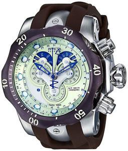 【送料無料】invicta mens venom chrono 1000m stainless steel brown polyurethane watch 14461