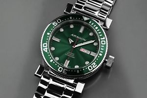 50mm automatic 【送料無料】aragon a033grn diver m
