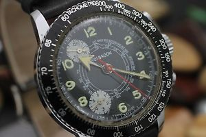 vintage wolbrook chronograph hand wind broad arrow mens sport watch