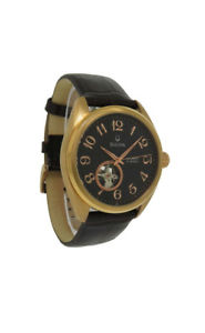 bulova 97a104 mens round rose gold tone automatic brown leather watch