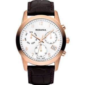 【送料無料】rodania celso swiss made 2510333 gents brown calfskin 40mm chronograph watch