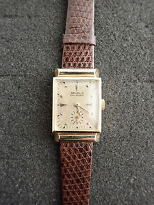【送料無料】vintage benrus 14k solid gold case fancy lugs wristwatch runnning
