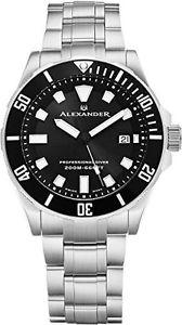【送料無料】alexander a501b01 professional diver mens quartz stainless steel watch