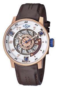 【送料無料】gv2 by gevril mens 1302 motorcycle sport automatic rosegold ip leather watch