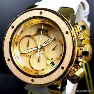 sea reserve 【送料無料】invicta 52mm plated brown gold subaqua dragon watch white wood