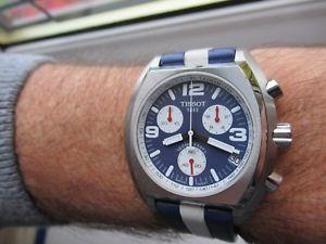 【送料無料】tissot panda chronograph tachymeter sksbc rare blue amp; white red boxed vgc