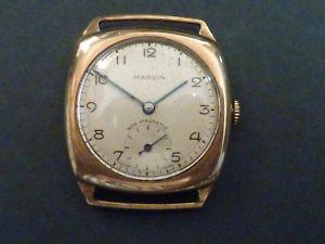 【送料無料】9ct gold cushion shape wristwatch by marvin dennison case 1949
