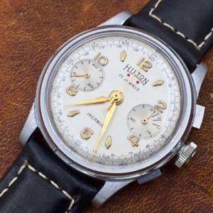 【送料無料】vintage hilton landeron 148 incabloc chronograph watch, serviced, 17j chrono