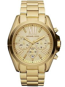 【送料無料】 michael kors mk5605 gold bradshaw chronograph watch 2 years warranty