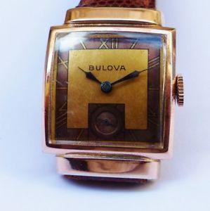 【送料無料】montre ancienne bulova art deco 14k gold plate