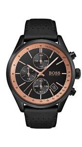 【送料無料】boss herrenuhr 1513550 analog chronograph,stoppuhr,tachymeter leder schwarz
