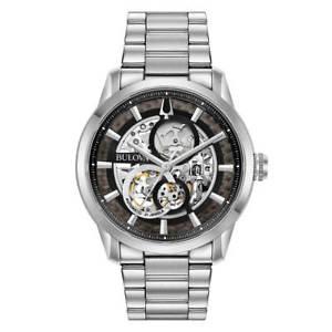 【送料無料】bulova 96a208 mens classic automatic silver steel bracelet watch