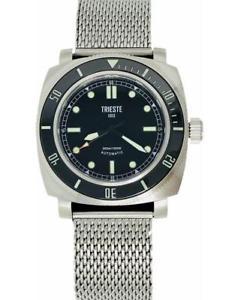 【送料無料】trieste automatic diver watch deep sea stainless steel with steel mesh strap