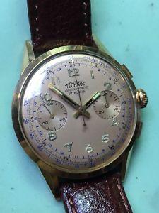 【送料無料】neues angebotmontre chronographe vintage technos venus 188 plaqu or en tres bon tat 37mm