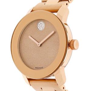 【送料無料】 movado bold womens rose tone watch 3600335