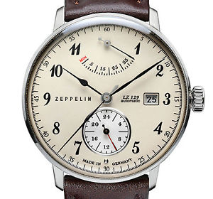 【送料無料】zeppelin 70604 hindenburg lz129 beige stahl 40 mm automatik gangres datum neu