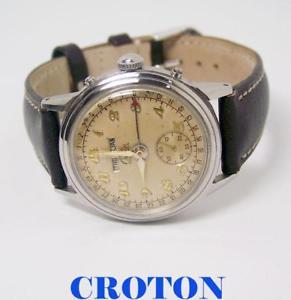 【送料無料】vintage croton mens triple calendar hourmatic watch 1950s * serviced