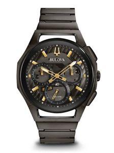 【送料無料】 bulova mens curv 98a206 chronograph 44mm stainless steel watch