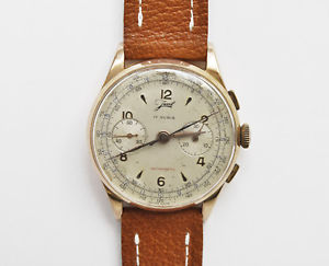 javil vintage 1950 18k pink gold chronograph 37mm well working exc