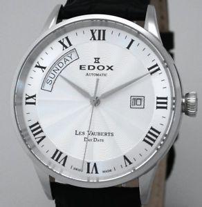 【送料無料】edox swiss made les vauberts day date automatik saphirglas herrenuhr ref 83007