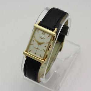 【送料無料】vintage 1950s 14k yellow gold longines 17j 9lt rectangular dress wristwatch