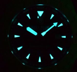 deep blue swiss automatic mother of pearl watch  very rare