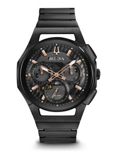 【送料無料】 bulova mens curv 98a207 chronograph 44mm stainless steel watch