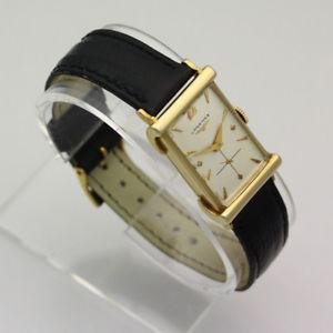 vintage 1950s 14k yellow gold longines 17j 9lt rectangular dress wristwatch