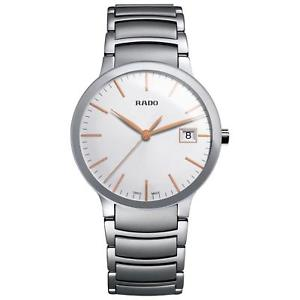 rado centrix mens 38mm silver steel bracelet amp; case quartz date watch r30927123