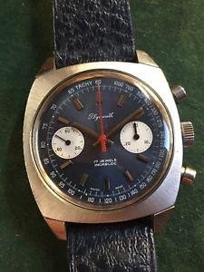 【送料無料】montre vintage chronographe plymouth acier 37mm valjoux 7733 incabloc bleu panda