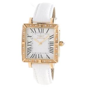 【送料無料】invicta womens wildflower square white leather watch 14846
