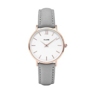 【送料無料】cluse womens minuit cl30002 rose gold grey leather quartz watch