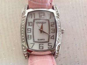 【送料無料】gossip pink crocodile leather watch crystal bezel gsp515