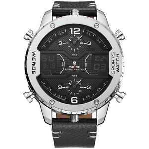【送料無料】orologio da polso uomo weide wh6401 movimento miyota triplo orario argento nero