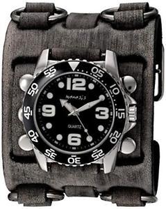 【送料無料】nemesis mens groovy series quartz stainless steel and leather watch,