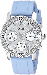 【送料無料】women's guess silvertone and blue silicone casual watch u1098l3