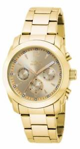 【送料無料】invicta womens angel chronograph gold plated stainless steel watch 17901