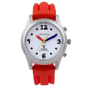 【送料無料】 red strap amp; silver radio controlled talking watch multi coloured hands