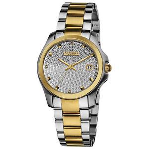 【送料無料】womens akribos xxiv ak579tt crystal pave two tone stainless steel watch